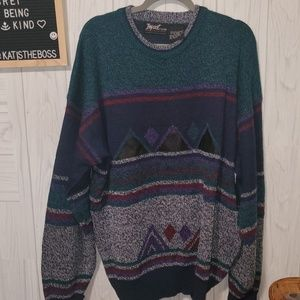 VINTAGE *IMPACT* color block/geo knit sweater 2x
